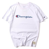 champion :letters embroidery Couple T-shirt top white