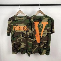 Tide brand VLONE LIFE star with the same paragraph Camo loose male and female couple letters guerrilla short sleeve