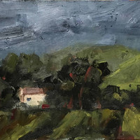 STORMY SKY - Cherry Glen Road - 6 x 8 - Plein Air - Dark - Original Oil - California Landscape - Home Decor - Green - Wall Art - Impasto