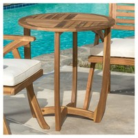 Carina Round Acacia Wood Accent Table - Teak - Christopher Knight Home