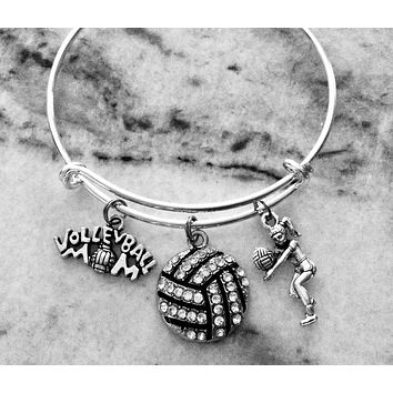 Volleyball Mom Charm on a Silver Expandable Bracelet Adjustable Silver Wire Bangle Sports Team Gift Trendy Handmade