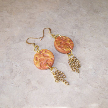 PERSONAL DIFFUSER EARRINGS, Clay Disk Dangle Earrings, Copper or Gold Tone Aroma Therapy Earrings, Hand Painted Autumn Colors, Handmade