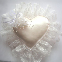 Handmade heart lace wedding pillow,ring pillow,cream color
