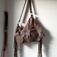 Taupe milky brown Italian buttery soft leather fringe fringed hobo bag artistan purse bohemian raw festival free people irregular