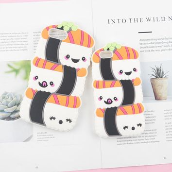 Cute Sushi Panda Case for iPhone 5 5s SE 6 6s 7 8 Plus X Phone Back Silicon Cover