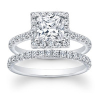 1.15 carat Princess & Round Brilliant Cut Diamond Halo Bridal Ring Set in 14k White Gold
