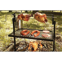 Camp Fire Outdoor Wood Rotisserie Grill BBQ Metal Rack Cook Pot Grate Trip New