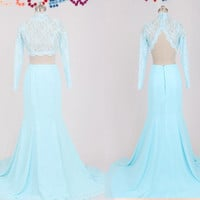 Custom Made Two Pieces Prom Dress Lace  Long Sleeve Satin Mermaid Evening Dress Open Back Formal Dress Bridesmaid Dress