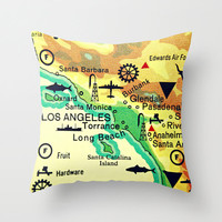 Map Pillow LOS ANGELES | Beach House | Decorative Throw Pillow Cover | Retro California Way Cool Pillow