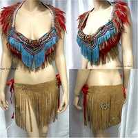 Red Turquoise Tribal Native indian Suede Fringe Bra and Skirt Rave Halloween Costume
