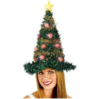 """19"""" Light Up Adult Battery Operated Bright & Colorful Tinsel Christmas Tree Hat"""
