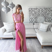2018 summer new design 2 piece set sleeveless hollow out casual lace dress high split maxi dresses