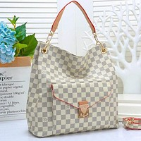 Louis Vuitton Big Bag LV Stacked layers Buckle Bag Women Shopping Bag Leather Crossbody Satchel Shoulder Bag White tartan