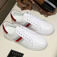 GUCC 2018 new high quality men's striped trend outdoor sports shoes Red