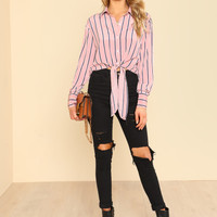 Knot Front Crop Striped Shirt -SheIn(Sheinside)