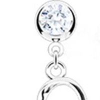 """14g Dangling Loop Heart Sexy Belly Button Navel Ring Dangle Body Jewelry Piercing with Clear Gems and Surgical Steel Bar 14 Gauge 3/8"""" Nemesis Body JewelryTM"""