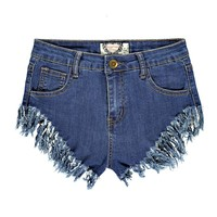 Loren High Cut Fray Hem Denim Hotpants