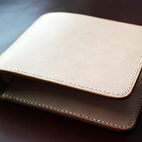 Men's Leather Wallet Natural Tan Handstitched Bifold for credit cards and bills
