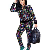 Fendi Tide brand women's long sleeve sports suit two-piece