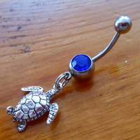 Belly Button Ring - Silver Turtle Belly Button Ring