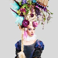 MADE TO ORDER Marie Antoinette butterfly bird cage sail boat headdress headpiece wig fantasy burlesque french baroque roccoco