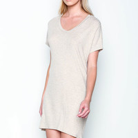 OATMEAL RIBBED KNIT TEE DRESS