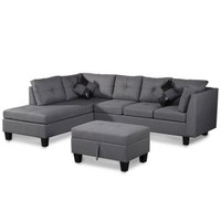 Harper&Bright Designs Sectional Sofa with Chaise and Storage Ottoman, Fabric /2 Square Pillows, Gray - Walmart.com