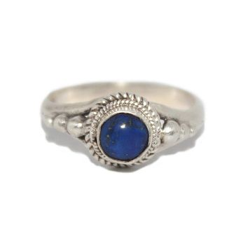 Round Lapis Sterling Silver Ring