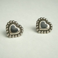 Black Onyx Post Earrings Heart Shaped Silverplated Vintage Sweetheart Jewelry