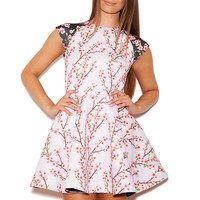 Clothing : Structured Dresses : 'Ce-Ce' White Floral Neoprene-Esque Skater Dress