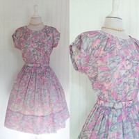 1950s pink & grey marbled print sheer nylon full pleat skirt midi pinup dress // cap sleeves matching belt // size XL 40 bust