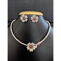 Flower CZ stone party wear necklace and earring set
