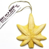 Kind & Mild Dope on a Rope - Lemongrass Pot Leaf shaped Soap on a Rope