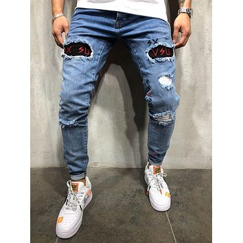 Men's Jeans Trousers Long Pants Hole Embroidered