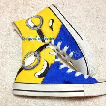 CREYUG7 minion Converse shoes Despicable Me minion shoes hand-painted High-top Converse