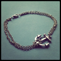 Anchor Anklet  Silver Plated Chain Extendible by TonisJewellery
