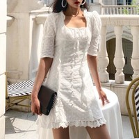 Elegant embroidered lace dress women White buttons high waist bodycon female dress Floral hollow out slim party vestidos