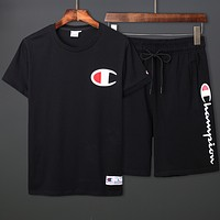 Champion Men's And Women's Series Half Sleeve Couples Set Tide Brand Short Sleeve T-Shirt F0377-1 Black