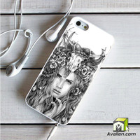 Skull Woman Art Printing iPhone 5 5S Case by Avallen