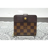 Authentic Louis Vuitton Wallet Compact Zip N61668 Browns Damier 196032