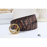 Samplefine2 Fendi tide brand female retro embossed smooth buckle belt Coffee