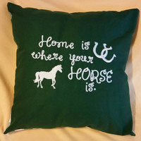 Horse  design  home is where your horse is with horseshoes  handmade throw pillow cover  embroidered