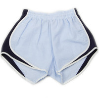 LAUREN JAMES SEERSUCKER SHORTIES - BLUE/NAVY