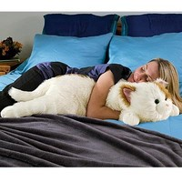 Super-Soft Cuddly Cat Body Pillow, in White and Brown