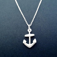 Sterling Silver, Anchor, Silver, Necklace
