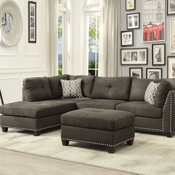 Acme 54370 3 pc Laurissa charcoal linen fabric sectional sofa and ottoman