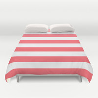 Stripe Coral Bold Duvet Cover by Beautiful Homes