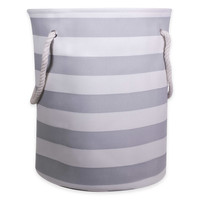 Striped Canvas Hamper with Rope Handles in Grey