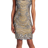 Short Beaded Cocktail Dress with Illusion Back - Adrianna Papell
