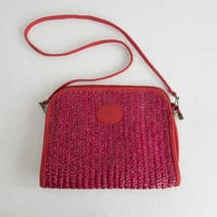 Vintage 1970s  Red Straw Clutch Bag Tiki Pin-up Removable Shoulder Strap